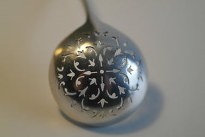 Art Nouveau 1892 solid silver tea strainer sugar sifter London lion Antique gift