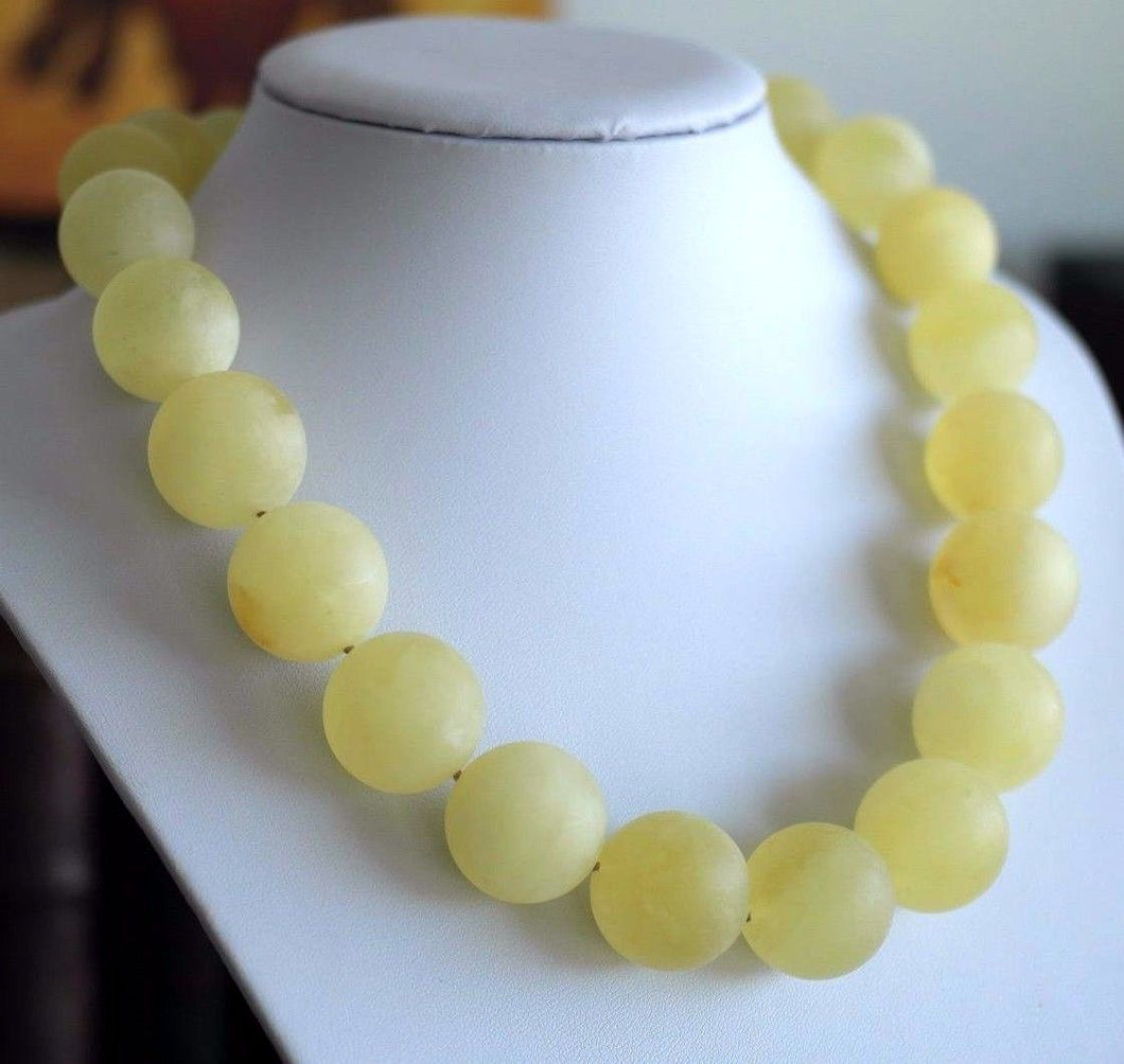 Stunning German 130.8 g Baltic Amber matte beads necklace