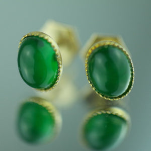 Antique 1906 Birmingham 9ct gold earrings with green Jade cabochon