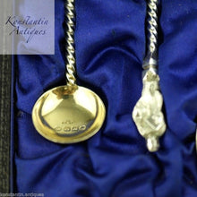 Load image into Gallery viewer, Antique Victorian 1883 sterling silver gold plated Apostle spoons 4+1 set boxed