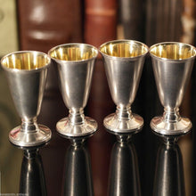 Load image into Gallery viewer, Vintage Russian solid silver gild Cups set of 4 Liqueur Vodka РЮ5 875 USSR gift