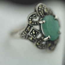 Load image into Gallery viewer, Vintage sterling silver ring with green emerald and marcasite