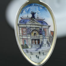 Load image into Gallery viewer, Antique enamel picture solid silver spoon German Dusseldorf Konsthalle 800