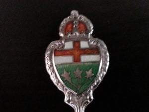 Antique enamel sterling silver spoon Hamilton BMco Canada