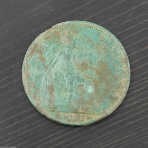 Vintage 1935 coin One penny George V Great Britain Bronze with patina nice gift