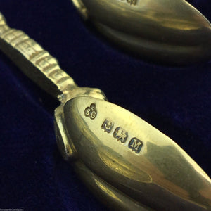Vintage 1936 gild solid silver anointing spoons set of six Birmingham E&Co