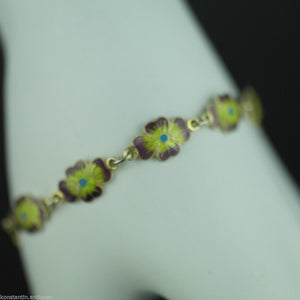 Antique 20thC solid silver enamel flowers bracelet chain gold plated