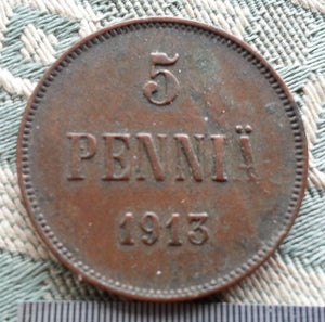 Antique 1913 coin 5 kopeks pennia Emperor Nicholas II of Russian Empire Finland