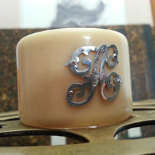 Antique 1896 bakelite napkin ring with solid silver letter H Victorian 19thC