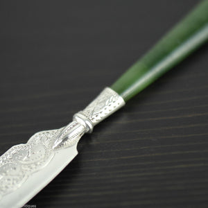 Antique 1900 sterling silver knife green Jade / Nephrite handle