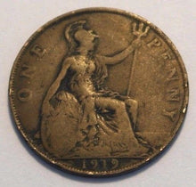 Load image into Gallery viewer, Antique 1919 one penny coin George V British Empire