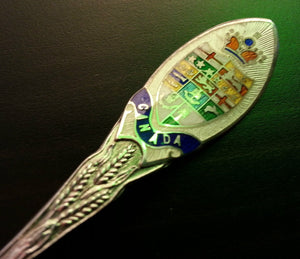 Antique enamel sterling silver spoon Canada Roden Bros Ltd