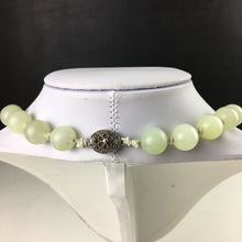 Load image into Gallery viewer, Antique Celadon Jade round beads knotted necklace Chinese silver clasp