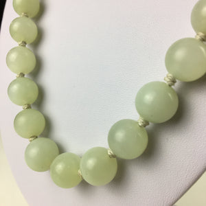 Antique Celadon Jade round beads knotted necklace Chinese silver clasp