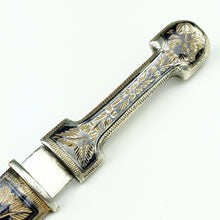 Load image into Gallery viewer, Antique Niello solid silver letter opener in Caucasian Russian Empire