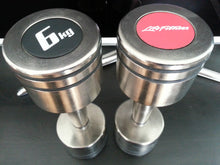 Load image into Gallery viewer, New Life Fitness Pair of 6 kg Nickel Dumbbells with safety rubber lines 2x6