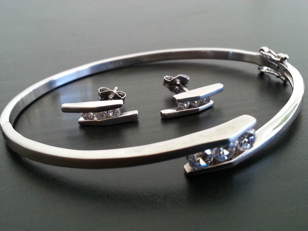 Modern Sterling silver set bangle and earrings with Cubic Zirconia stones