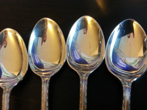 Antique 1914 sterling silver set of six spoons and tongs Sheffield