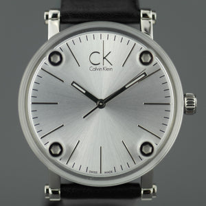 Calvin Klein Cogent Silver Dial Swiss Ladies wrist watch with black leather band