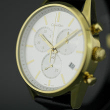 Load image into Gallery viewer, Calvin Klein gold plated Chronograph wrist watch with black leather band
