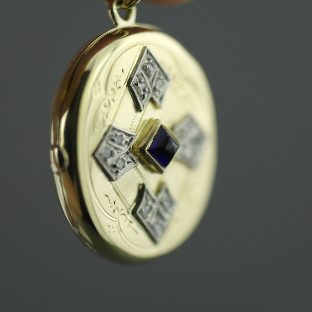 Antique 56 gold pendant locket pyramid sapphire and 12 diamonds Russian Empire