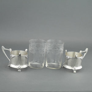 Antique Art Nouveau WMF pair glass holders cups Albin Muller Britannia metal