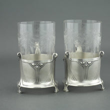 Load image into Gallery viewer, Antique Art Nouveau WMF pair glass holders cups Albin Muller Britannia metal