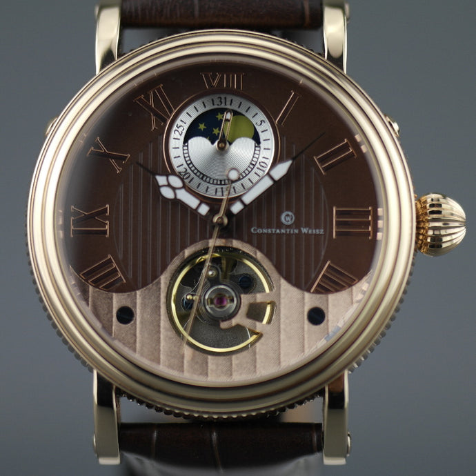 Constantin Weisz 35 jewels Gent's gold plated Automatic wrist watch Day Night and brown dial