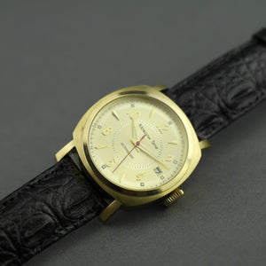 Moscow Time Gent's gold plated Automatic wrist watch with black Crocodile leather strap