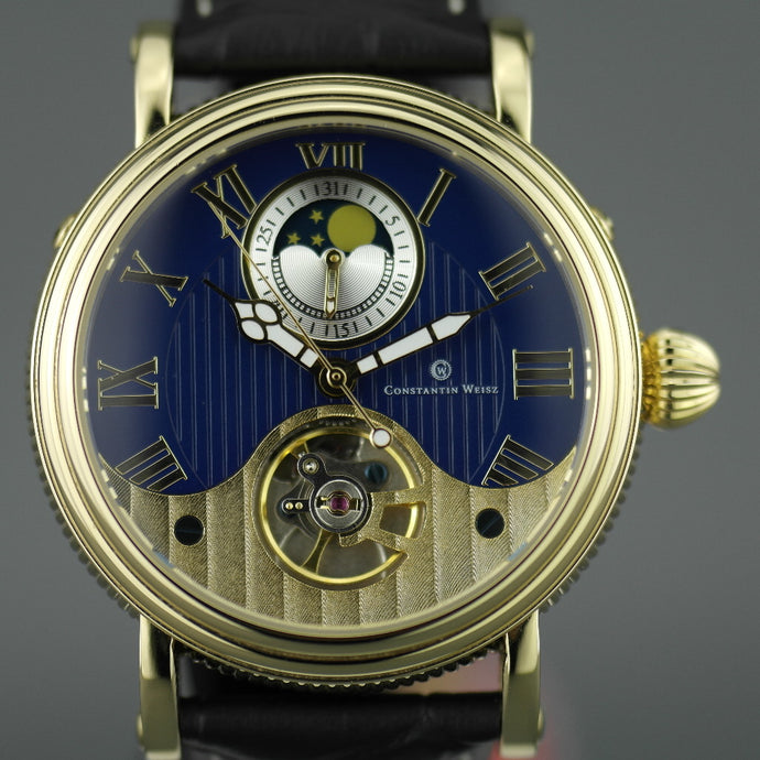 Constantin Weisz 20 Jewels Gent's Gold plated Automatic wrist watch Day Night and blue dial