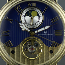 Load image into Gallery viewer, Constantin Weisz 20 Jewels Gent's Gold plated Automatic wrist watch Day Night and blue dial