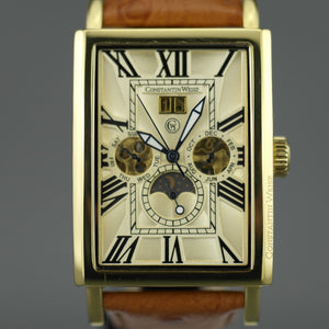 Constantin Weisz Gent's Automatic gold plated wrist watch with brown leather strap