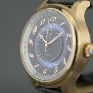 Constantin Weisz 35 Jewels Gent's gold plated Automatic wrist watch Moving Sun blue enamel