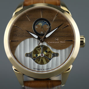 Constantin Weisz 24 jewels Gent's gold plated Automatic wrist watch Day Night and wood dial