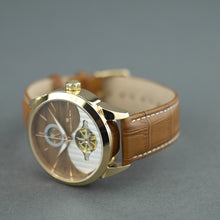 Load image into Gallery viewer, Constantin Weisz 24 jewels Gent's gold plated Automatic wrist watch Day Night and wood dial