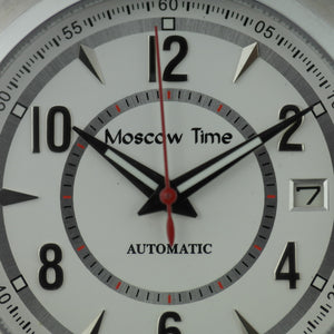 Moscow Time 27 jewels Gent's Automatic wrist watch with white dial and brown leather strap