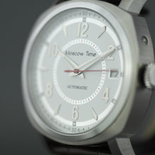 Load image into Gallery viewer, Moscow Time 27 jewels Automatic wrist watch with white dial and brown strap