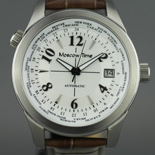 Moscow Time a world timer 27 jewels Gent's Automatic wrist watch with white dial and brown leather strap