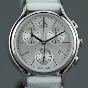 Calvin Klein Skirt Silver Dial Ladies wrist watch Chronograph with white leather strap