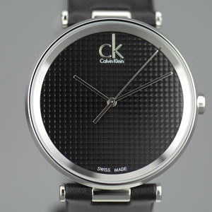 Calvin Klein Sight Quartz Black Dial Swiss Gents wrist watch with black leather strap