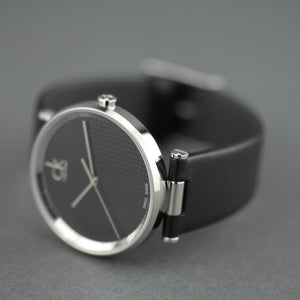 Calvin Klein Sight Quartz Black Dial Swiss wrist watch with leather strap