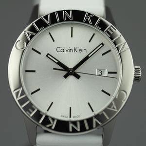 Calvin Klein Steady Silver Dial Swiss Gents wrist watch with white leather strap