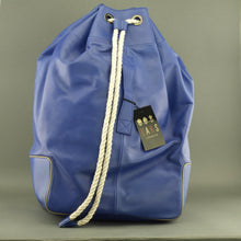 Load image into Gallery viewer, DAKS London signature Borbonese genuine leather blue large gym Backpack bag with nylon lining