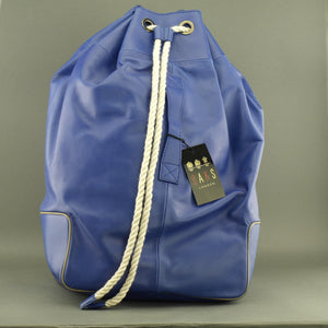 DAKS London signature Borbonese genuine leather blue large gym Backpack bag with nylon lining