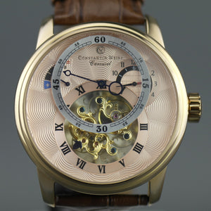 Constantin Weisz Carousel 29 jewels Automatic skeleton wrist watch and leather strap