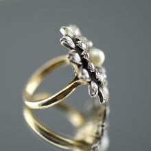 Load image into Gallery viewer, Elegant Antique 19thC 18ct gold ring pearl & 1.8 carat rose cut diamonds cluster 12.2g