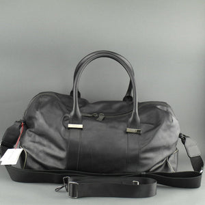 DAKS London signature Borbonese genuine leather black large gym holdall bag with nylon lining