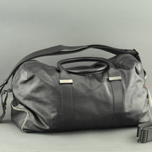 Load image into Gallery viewer, DAKS London signature Borbonese genuine leather black large gym holdall bag with nylon lining
