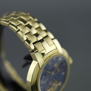 Constantin Weisz mechanical wrist watch gold plated with blue dial and box