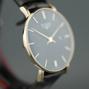 Zelos The flat gold plated elegant quartz watch from ELYSEE with date